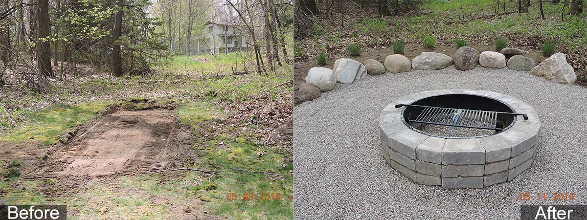 Fire ring before and after pictures from RRR Lawn