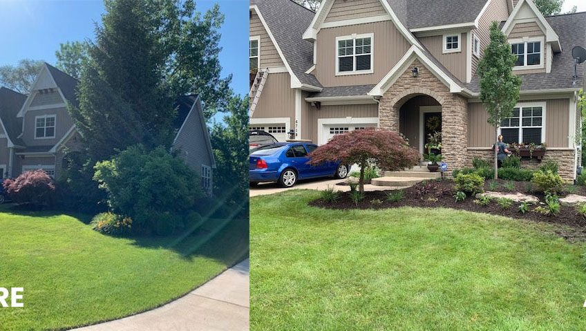 Before and after Newman front yard landscaping